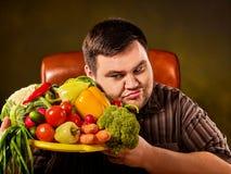 Fettes Fleisch fressendes gesundes Lebensmittel der Diät Gesundes Frühstück mit Gemüse Lizenzfreie Stockfotos