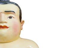Fettes Gesichts-Sumo-Puppe lokalisiert auf weißem Hintergrund Lizenzfreies Stockbild