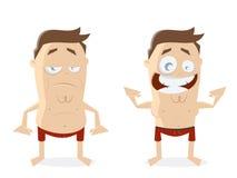 Fettes und athletisches Kerlkarikatur clipart Stockbild