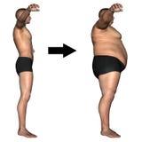 Fettes und dünnes Konzept des menschlichen Mannes Lizenzfreie Stockfotos