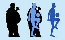 Fettes und dünnes Mann-Schattenbild stock abbildung