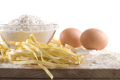 Fettuccine. Fresh fettuccine pasta with ingredients stock photo