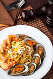 Fettuccine. With Shrimp and mussel royalty free stock photos