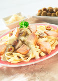 Fettuccine. A Delicious Fettuccine mixed with mushroom and vegetables stock images