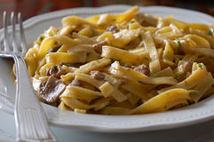 Fettuccine ai Funghi. Ribbon pasta with mushrooms Royalty Free Stock Photos