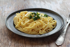 Fettuccine alfredo. Fettuccine alfredo with butter, parmesan and parsley on a tin plate stock photo