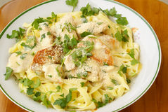 Fettuccine Alfredo with Chicken Royalty Free Stock Photo