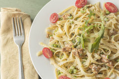 Fettuccine Alfredo with Ground Sausage Royalty Free Stock Images