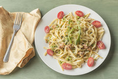Fettuccine Alfredo with Ground Sausage Royalty Free Stock Photography