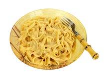 Fettuccine Alfredo Pasta Fork Stock Images