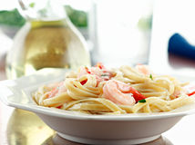 Fettuccine Alfredo with shrimp Stock Images