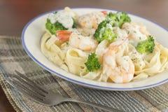 Fettuccine Alfredo Shrimp stock fotografie