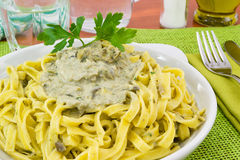Fettuccine with artichoke cream Royalty Free Stock Images