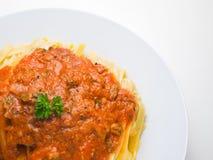 Fettuccine Bewohner von Bolognese Lizenzfreie Stockfotos