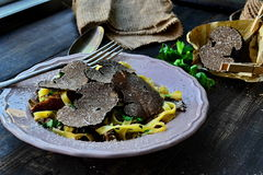 Fettuccine with black truffle Royalty Free Stock Image