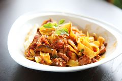 Fettuccine bolognese. In close up royalty free stock image