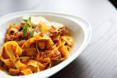 Fettuccine bolognese. In close up stock photos