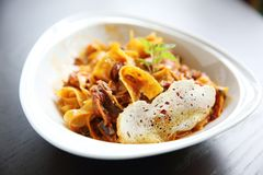 Fettuccine bolognese. In close up royalty free stock images