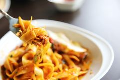 Fettuccine bolognese. In close up royalty free stock photo