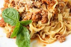 Fettuccine Bolognese closeup Stock Photos