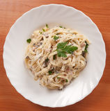 Fettuccine carbonara Royalty Free Stock Images