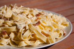 Fettuccine Carbonara Stock Photos