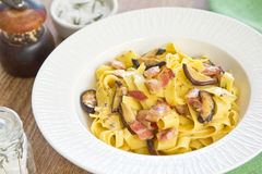 Fettuccine Carbonara with bacon and mushroom Stock Photo