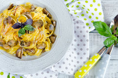 Fettuccine carbonara in a bowl Royalty Free Stock Photography
