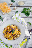 Fettuccine carbonara in a bowl Stock Image