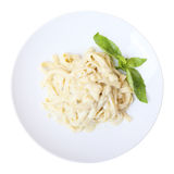 Fettuccine with cheese. Top view. Stock Images