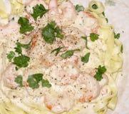 Fettuccine do camarão Fotos de Stock