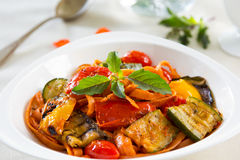 Fettuccine and Grilled vegetables in tomato sauce Royalty Free Stock Images