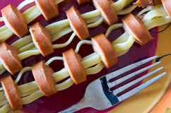 Fettuccine Hot Dogs Royalty Free Stock Photos