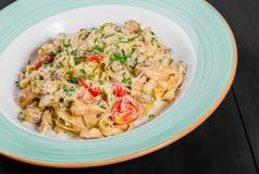 Fettuccine makaron z kurczaka mięsem, pomidorem, pieczarkami, serowym kumberlandem i zieleniami, obraz stock