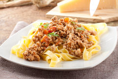Fettuccine with meat sauce Royalty Free Stock Images
