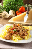 Fettuccine with meat sauce Stock Image