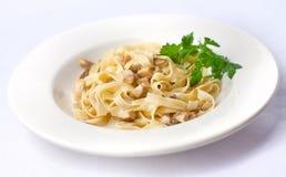 Fettuccine mit porcini Pilzen Lizenzfreies Stockbild