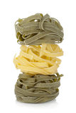 Fettuccine nest colored pasta Stock Images