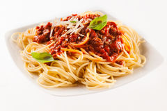 Fettuccine noodles with Bolognaise sauce Royalty Free Stock Image