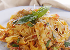 Fettuccine Pasta with Chicken Stock Images