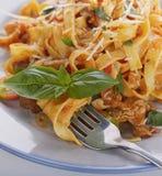 Fettuccine Pasta with Chicken Stock Photo