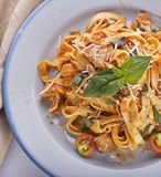 Fettuccine Pasta with Chicken and Vegetables. Top view stock image