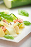 Fettuccine pasta with Salmon and zicchini Royalty Free Stock Images