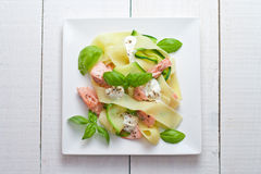 Fettuccine pasta with Salmon and zicchini Royalty Free Stock Photography