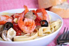 Fettuccine Pasta with Shrimp Dinner Dish Royalty Free Stock Images