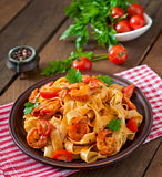 Fettuccine pasta with shrimp Stock Photos