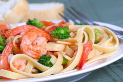 Fettuccine Pasta with Shrimp and Vegetables Royalty Free Stock Images