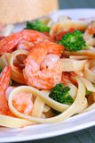 Fettuccine Pasta with Shrimp and Vegetables Stock Image