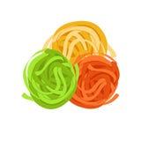 Fettuccine pasta. Uncooked italian pasta, macaroni, cartoon illustration Royalty Free Stock Photo