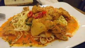 Fettuccine piccante del pollo con salsa immagini stock